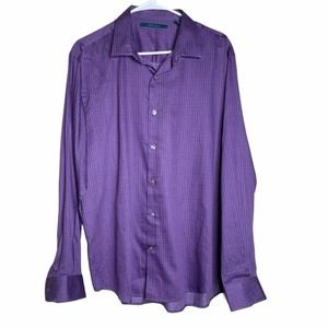 Perry Ellis Printed Dress Shirt 100% Cotton purple